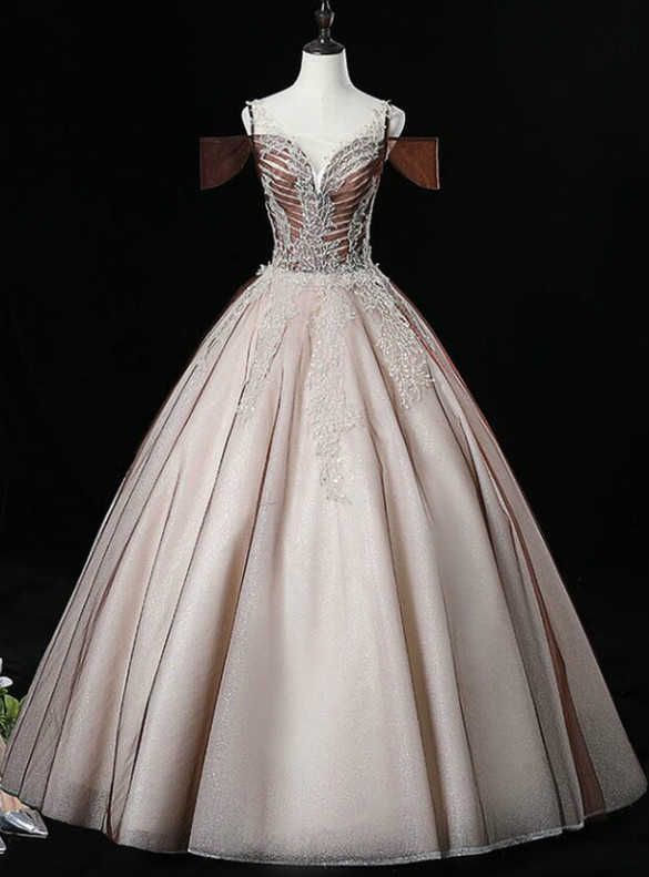 Coffee Tulle Sequins Appliques Beading Quinceanera Dress