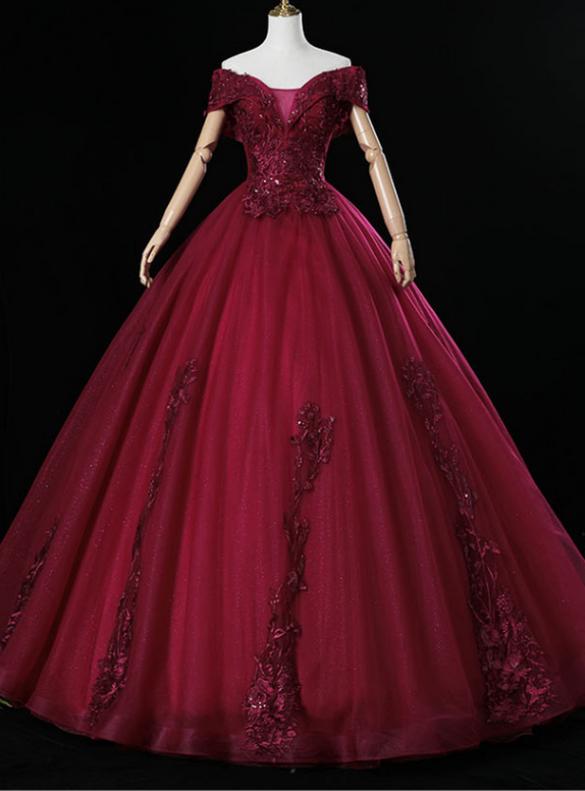 Romantic Burgundy Tulle Appliques Beading Quinceanera Dress
