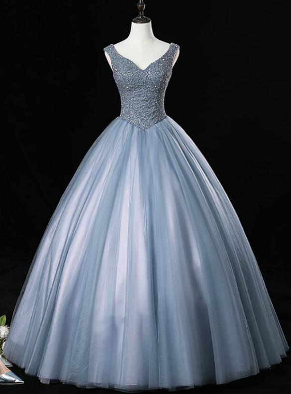 Gray Blue Tulle V-neck Beading Quinceanera Dresses