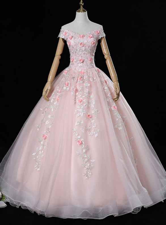 Pink Tulle Off the Shoulder 3D Appliques Quinceanera Dresses