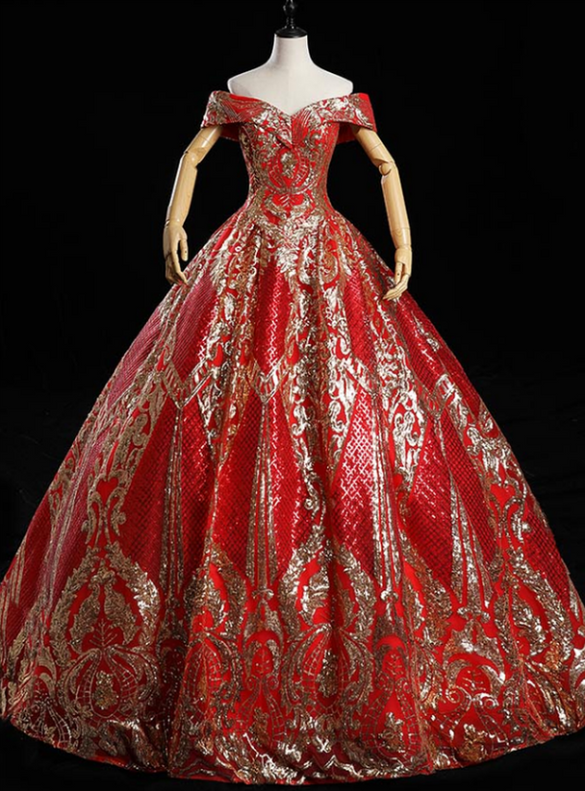 Red Sequins Off the Shoulder Quinceanera Dress