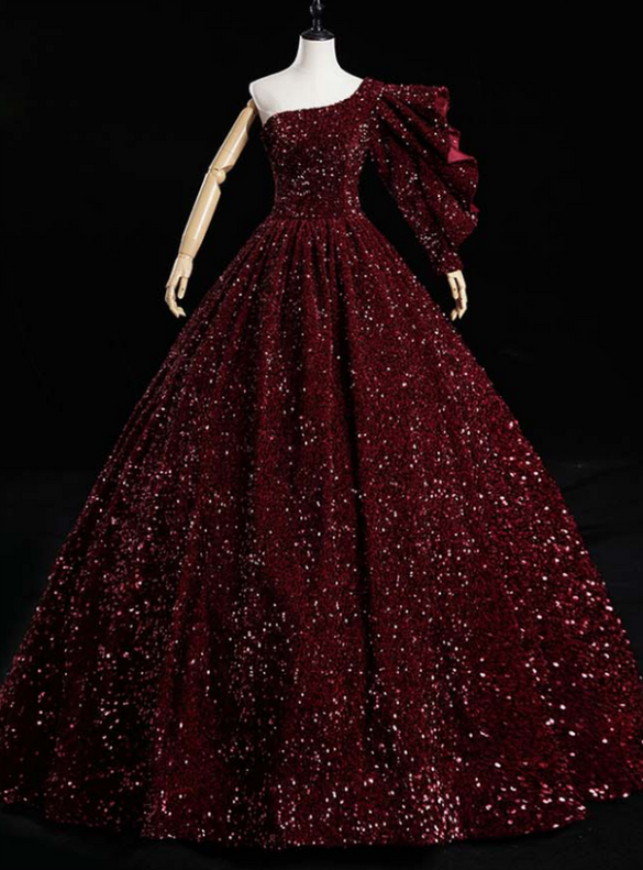 Burgundy Sequins One Shoulder Quinceanera Dress
