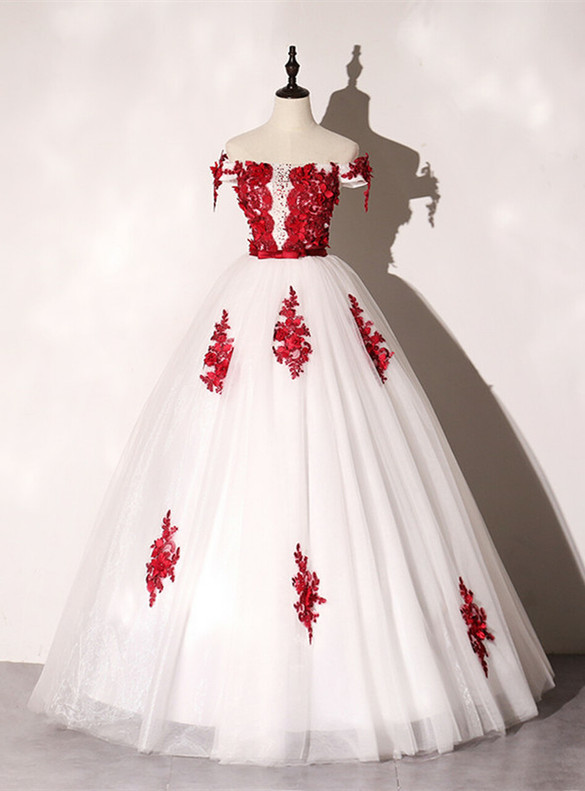 White Tulle Red Appliques Beading Quinceanera Dress