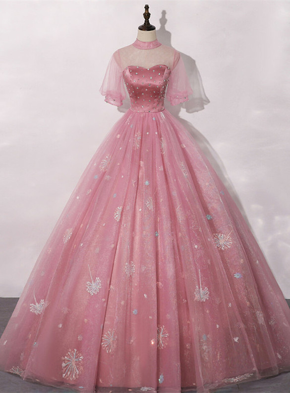 Pink Tulle Dandelion Embroidery Short Sleeve Quinceanera Dress