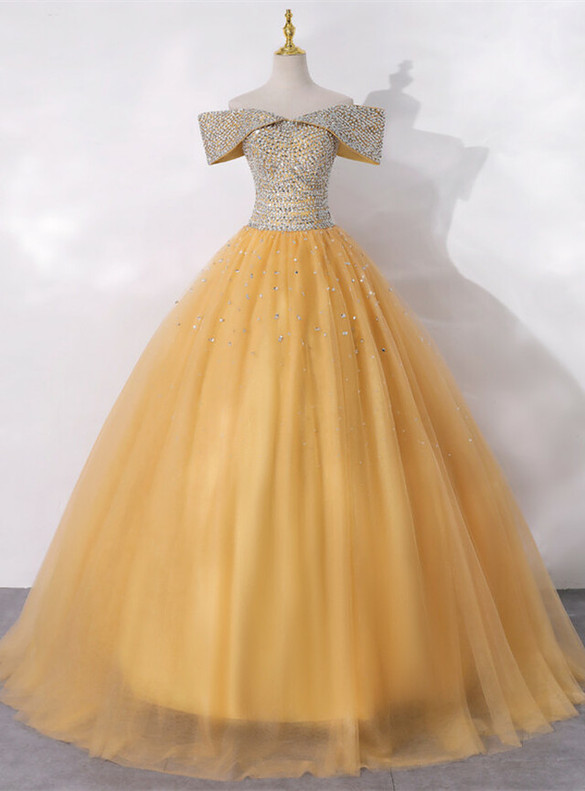Gold Tulle Off the Shoulder Beading Sequins Quinceanera Dress