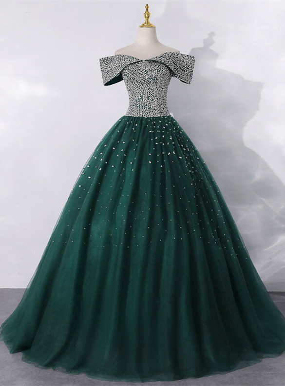 Green Tulle Off the Shoulder Beading Sequins Quinceanera Dress