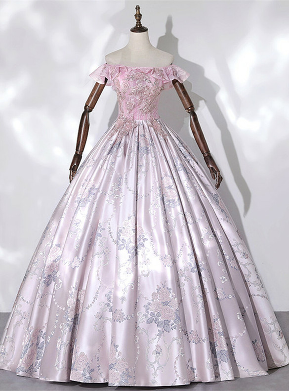 Pink Satin Lace Print Off the Shoulder Beading Quinceanera Dress