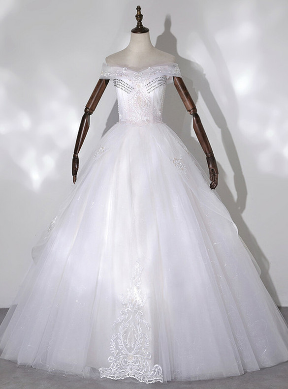 White Tulle Off the Shoulder Appliques Beading Quinceanera Dress