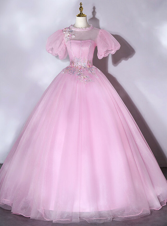 Pink Tulle Puff Sleeve Appliques Quinceanera Dress