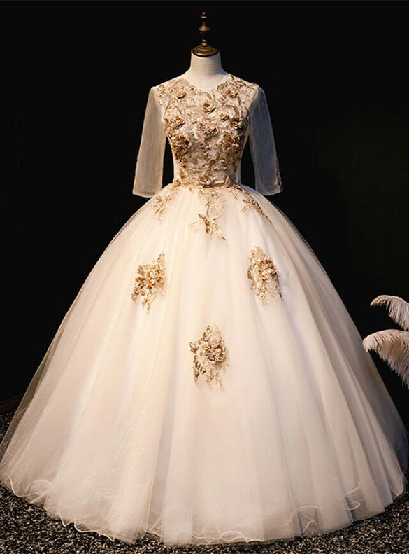 Gold Tulle Short Sleeve Appliques Quinceanera Dress