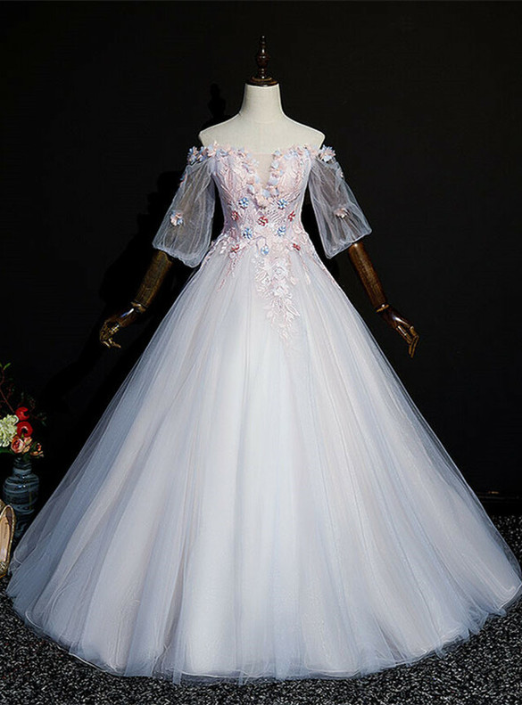 Pink Ball Gown Tulle Puff Sleeve Appliques Quinceanera Dress