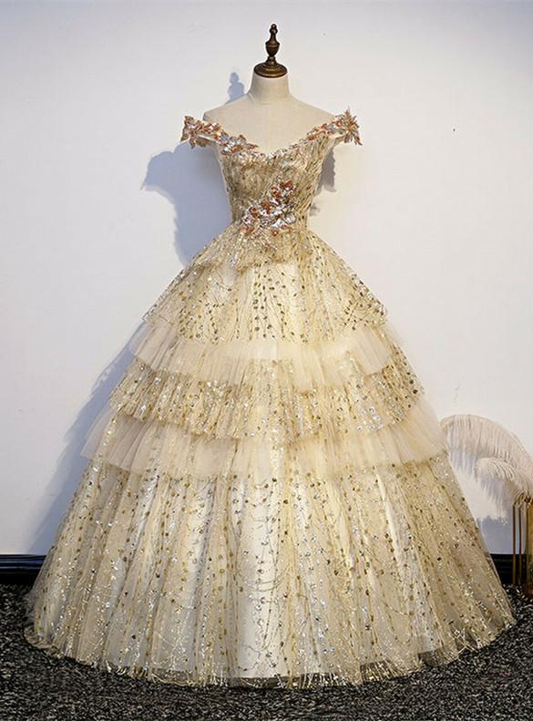 Graceful Gold Tulle Sequins Off the Shoulder Quinceanera Dress