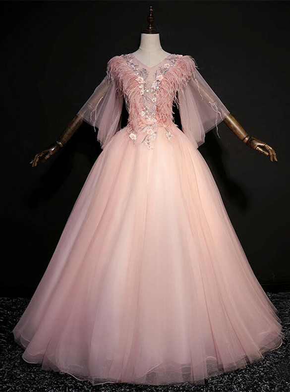 Pink Tulle Flaying Sleeve Appliques Feather Quinceanera Dress