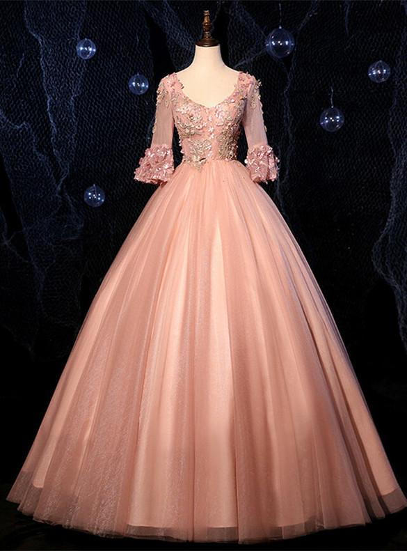 Pink V-neck Short Sleeve Appliques Quinceanera Dress