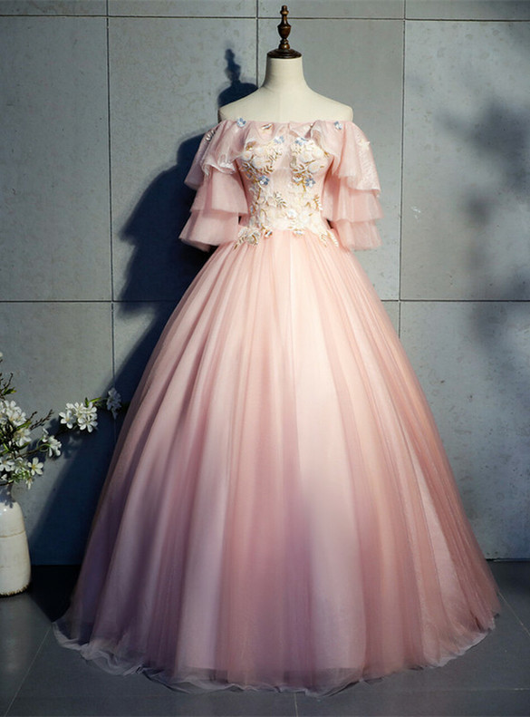 Pink Tulle Short Sleeve Appliques Quinceanera Dress