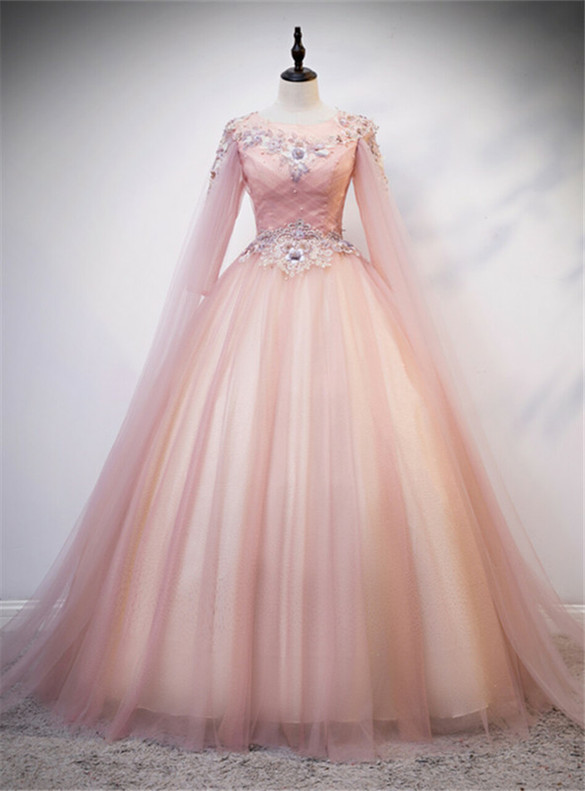 Pink Tulle Short Sleeve Backless Appliques Quinceanera Dress