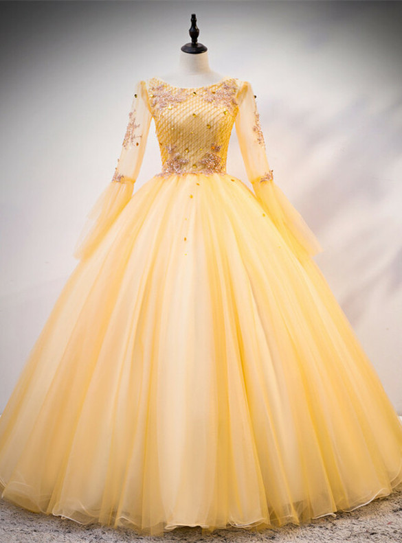 Gold Tulle Sequins Beading Long Sleeve Quinceanera Dress
