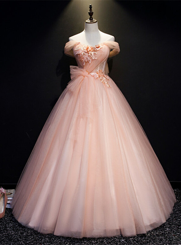 Pink Tulle Pleats Appliques Pearls Quinceanera Dress