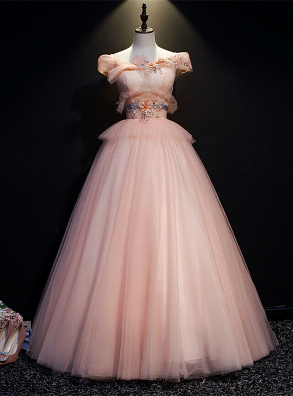 Pink Tulle Lace Appliques Quinceanera Dress