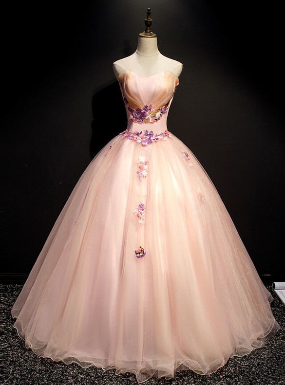 Pink Strapless Tulle Appliques Sweet 16 Quinceanera Dress