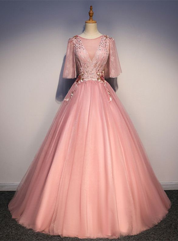 Pink Tulle Lace Appliques Pearls Quinceanera Dress