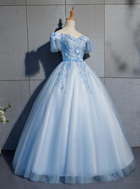 Blue Tulle Off the Shoulder 3D Appliques Quinceanera Dress