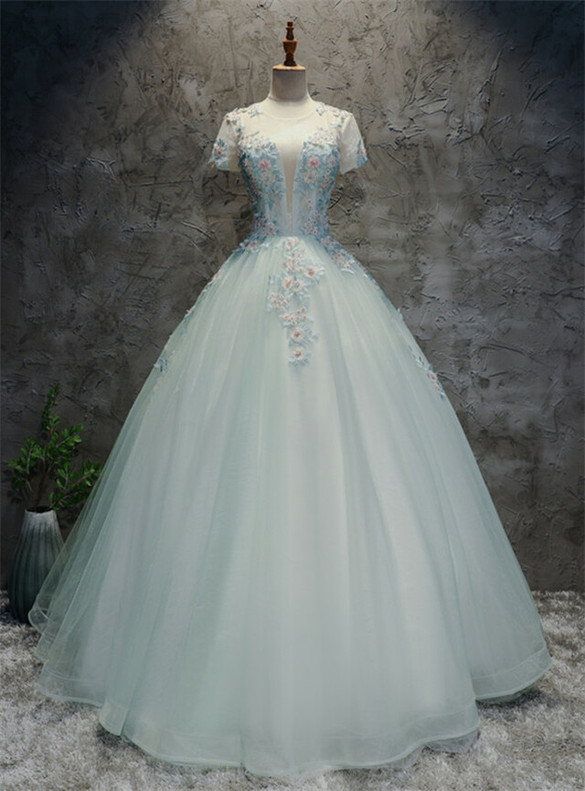 Blue Tulle Appliques Cap Sleeve Backless Quinceanera Dress