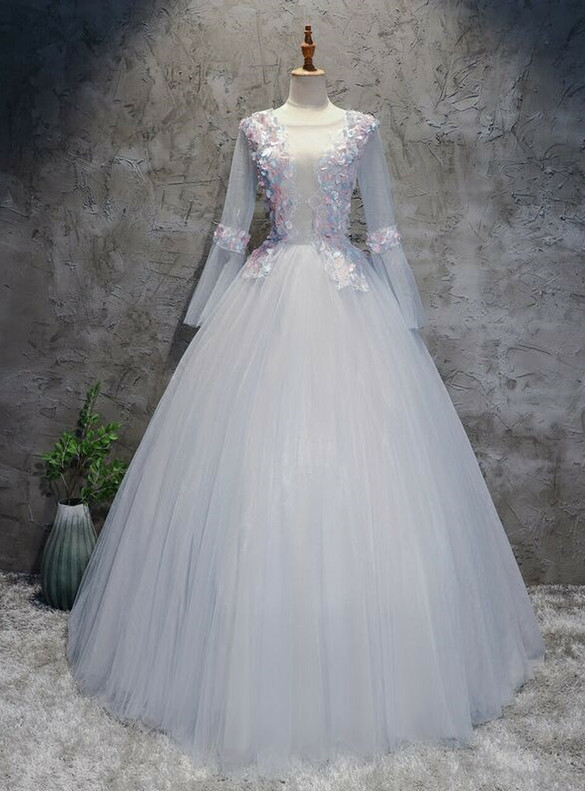 Tulle Long Sleeve Backless Appliques Quinceanera Dress