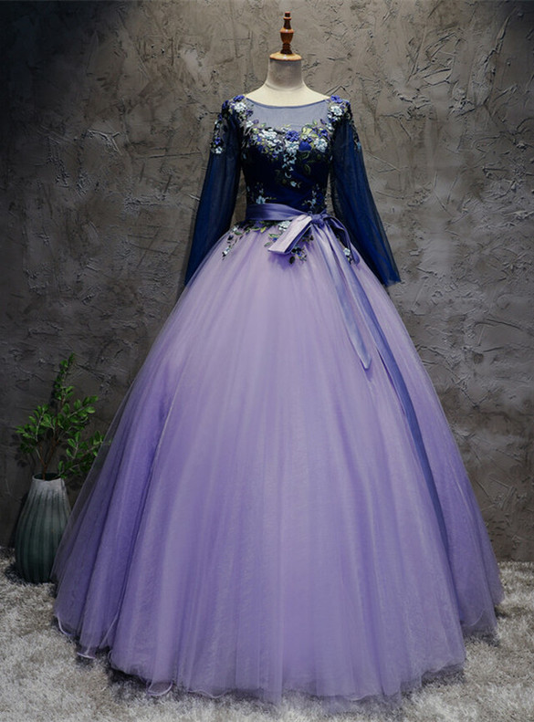 Purple Ball Gown Tulle Long Sleeve Appliques Quinceanera Dress
