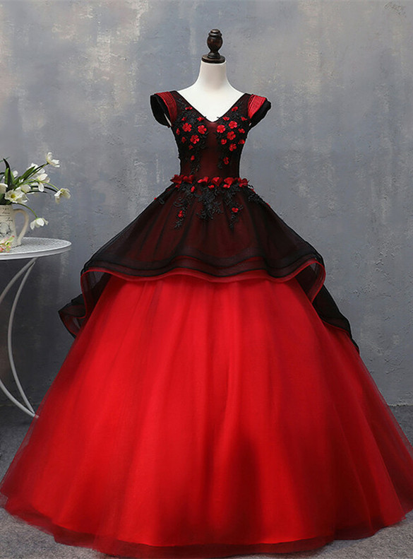 Black Red Tulle Appliques V-neck Sweet 16 Quinceanera Dress