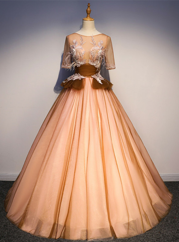 Orange Yellow Tulle Backless Appliques Quinceanera Dress