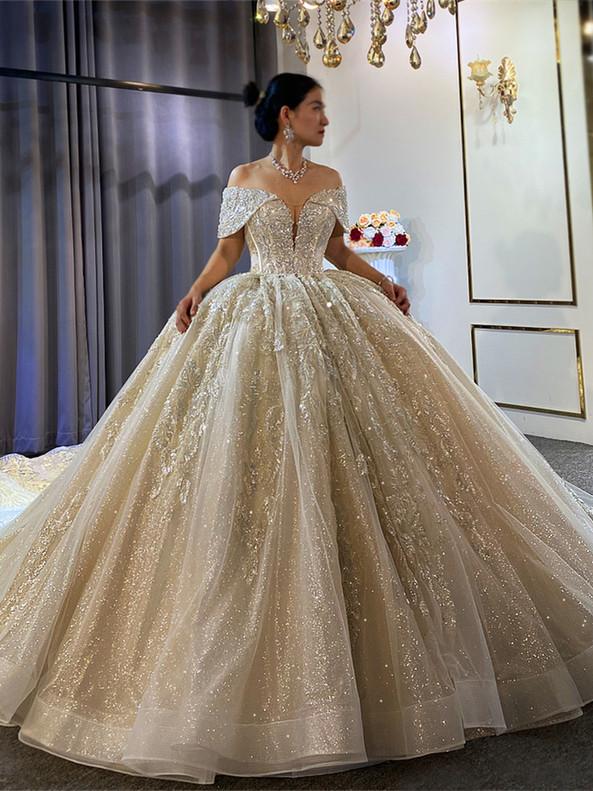Tulle Sequins Appliques Off the Shoulder Wedding Dress