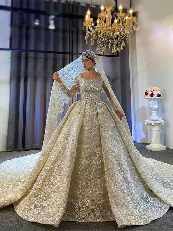 Lace Beading Bateau Long Sleeve Wedding Dress