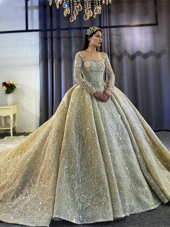 Dark Champagne Seuqins Beading Long Sleeve Wedding Dress