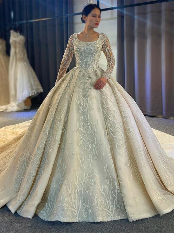 Beading Sequins Pearls Long Sleeve Wedding Dress