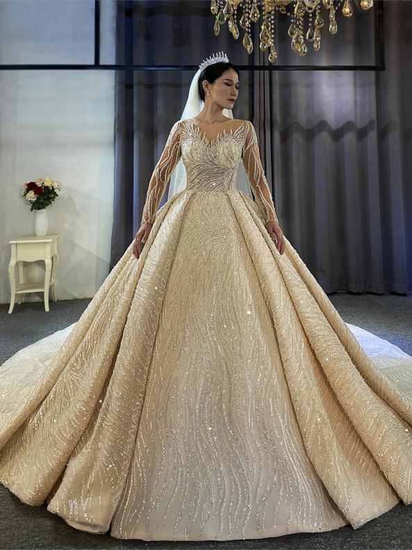 Dark Champagne Sequins Pearls Long Sleeve Wedding Dress