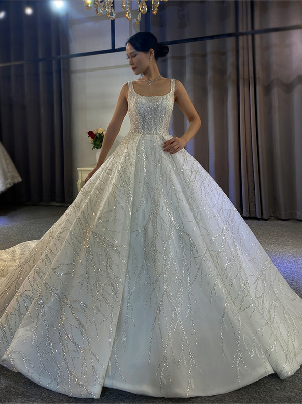 White Tulle Sequins Beading Strapes Wedding Dress
