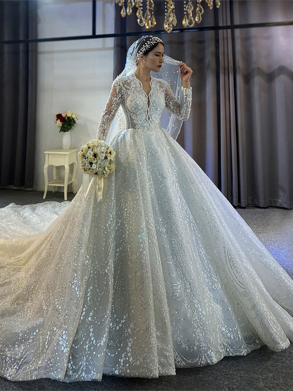 White Sequins Tulle Beading Pearls Long Sleeve Wedding Dress
