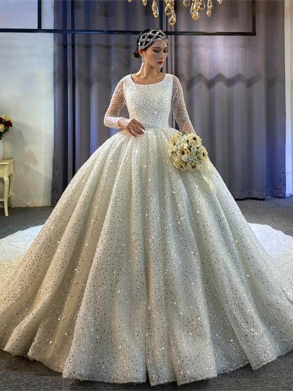 White Sequins Pearls Long Sleeve Wedding Dress