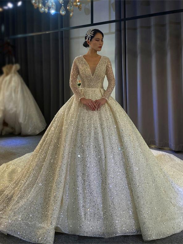 V-neck Sequins Beading Long Sleeve Wedding Dress