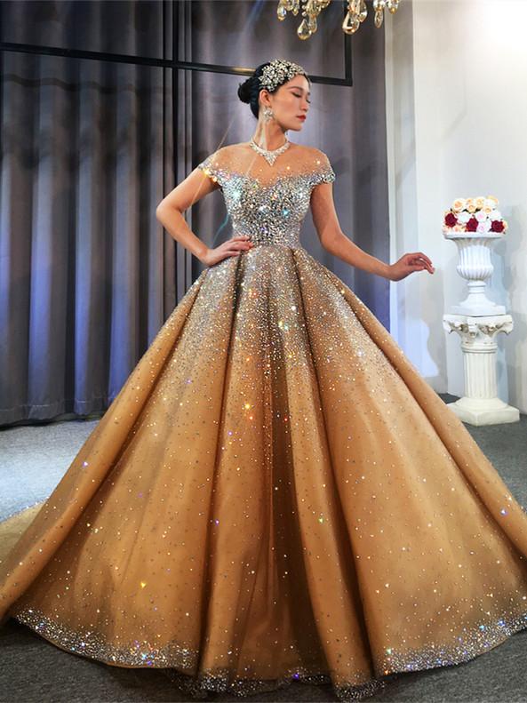 Gold Tulle Crystal Beading Cap Sleeve Wedding Dress