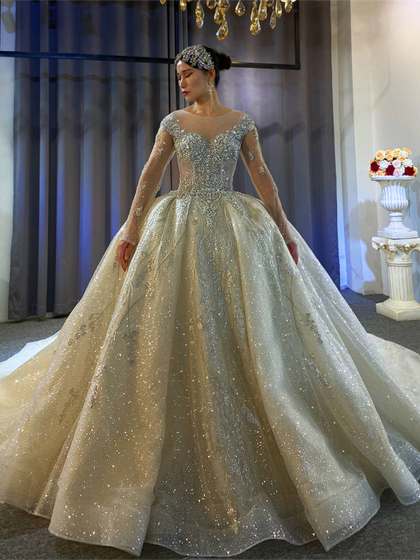 Princess Sequins Beading Long Sleeve Wedding Dress