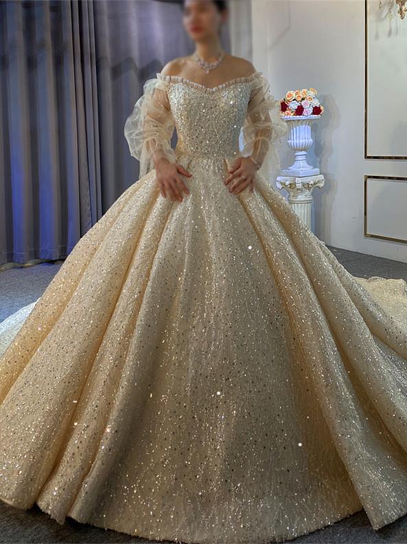 Off the Shoulder Long Sleeve Beading Wedding Dress