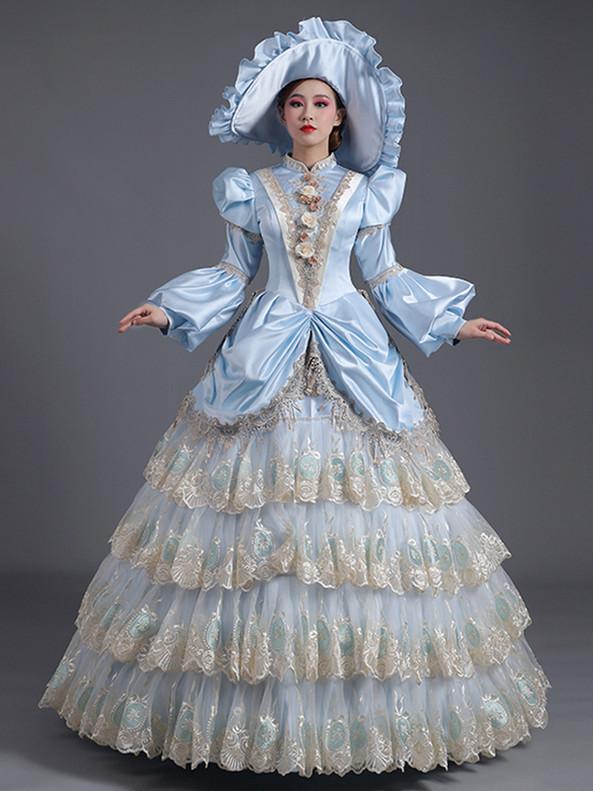 Light Blue Satin Lace Tiers Long Sleeve Victorian Dress