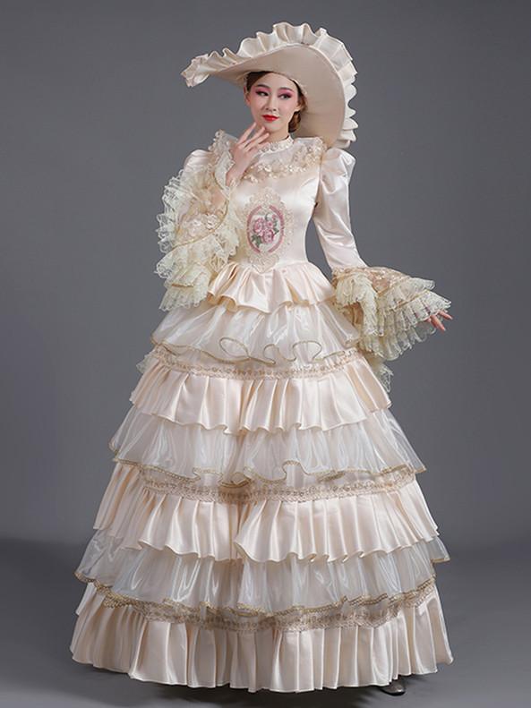 Champagne Satin Tiers Long Sleeve Rococo Baroque Dress