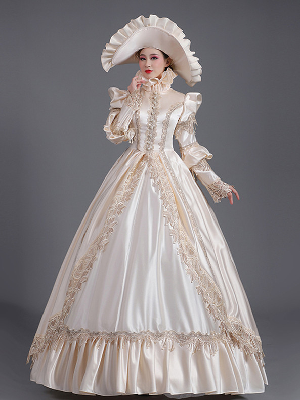Champagne Satin Long Sleeve High Neck Masquerade Dress