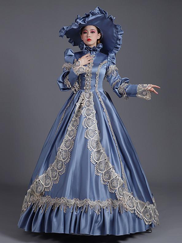 Blue Satin Lace High Neck Long Sleeve Victorian Dress