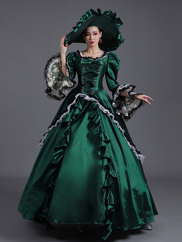 Green Satin Lace Bow Long Sleeve Victorian Dress