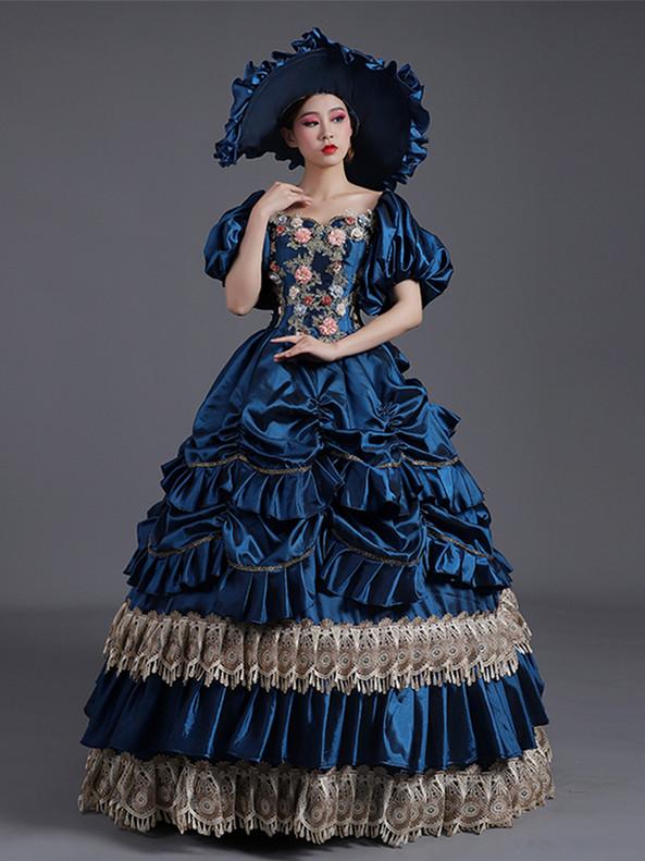 Navy Blue Satin Pleats Tiers Appliques Baroque Victorian Dress