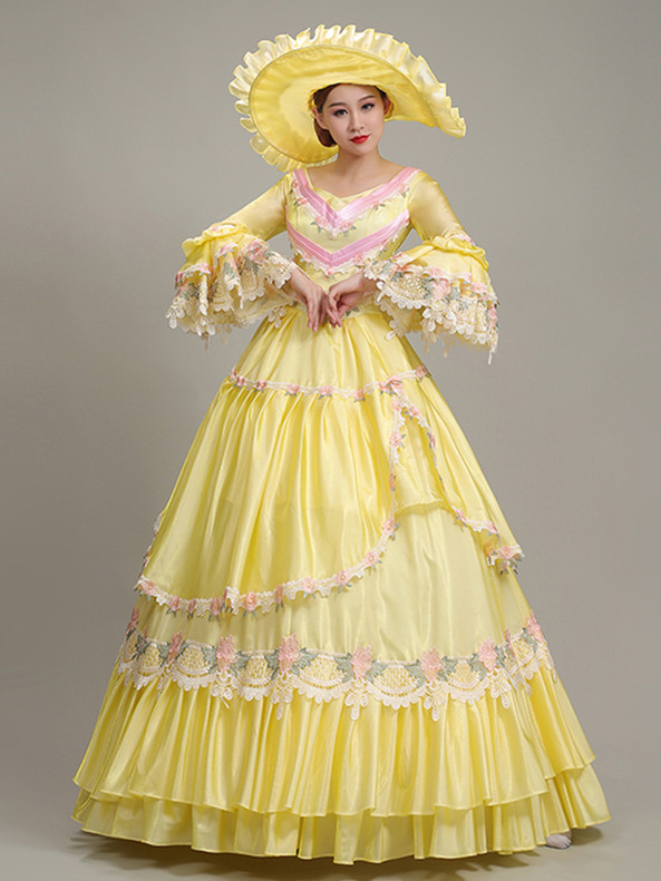 Yellow Satin Pink Lace Long Sleeve Rococo Baroque Dress